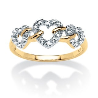 Isabella Collection 18k Two-tone Gold over Silver Diamond Accent Heart Link Ring
