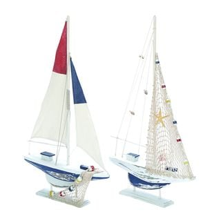 Nautical White and Blue 2-piece Sailboat Set