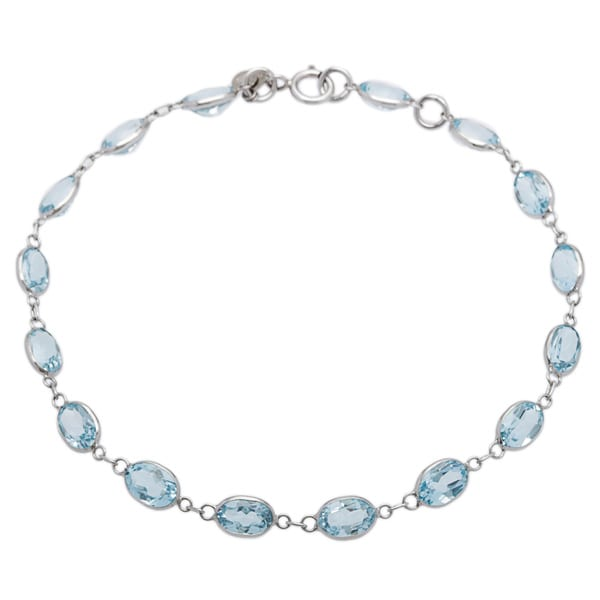 14k White Gold Blue Topaz Bracelet