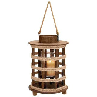 Design Wood Lantern with Convenient Rope Handle