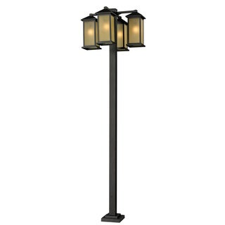 Z-Lite 4-head Outdoor Post with Tinted Glass Shades