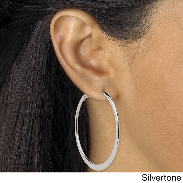 PalmBeach Hoop Earrings in Silvertone, 18k Gold-Plated or Rose Gold-Plated With Surgical Steel Posts Tailored