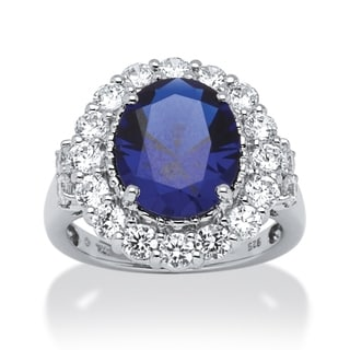 PalmBeach Platinum Over Silver Sapphire and Cubic Zirconia Ring Glam CZ