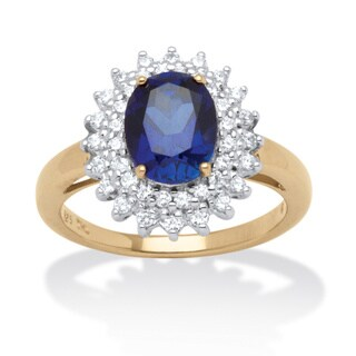 PalmBeach 18k Gold Over Silver Cubic Zirconia Sapphire Ring Color Fun