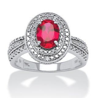 Angelina D'Andrea Platinum over Silver Ruby Diamond Accent Ring