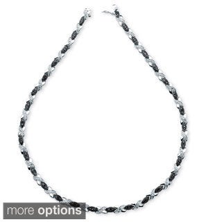 PalmBeach 1/5 TCW Black Diamond X and O Necklace in Silvertone or 18k Gold-Plated
