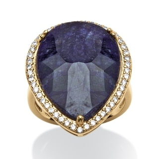 PalmBeach 18.63 TCW Pear-Cut Midnight Blue Sapphire and Cubic Zirconia Ring in 18k Gold over Sterling Silver