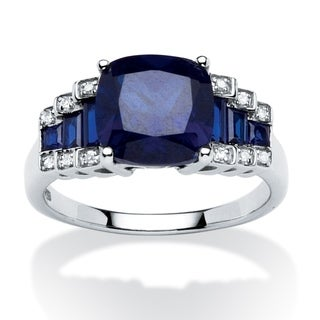 Angelina D'Andrea Platinum 3.19 TGW Created Sapphire and Diamond Accent Ring
