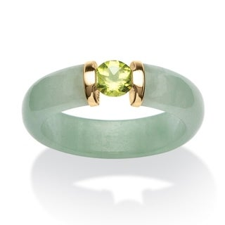 PalmBeach .50 TCW Round Peridot and Jade Ring in 10k Gold Naturalist