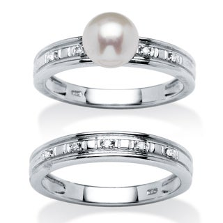Angelina D'Andrea Platinum 7mm Freshwater Pearl and 1ct TDW Diamond Ring Set (H-I, I2, I3)