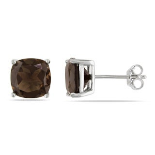 Miadora Sterling Silver 4 1/2ct TGW Smokey Quartz Solitaire Earrings