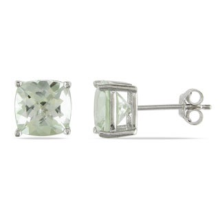 Miadora Sterling Silver 4 1/2ct TGW Green Amethyst Stud Earrings