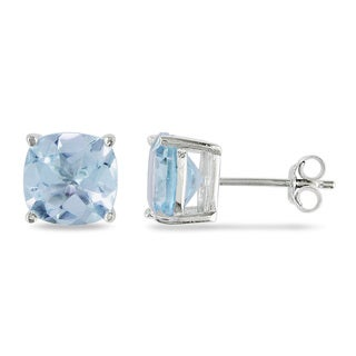 Miadora Sterling Silver 5 1/2ct TGW Blue Topaz Solitaire Earrings