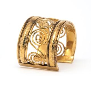 Handmade Gold Swirl Cuff Bracelet (India)