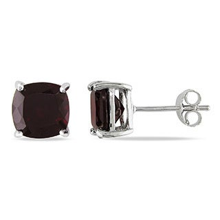 Miadora Sterling Silver Garnet Solitaire Earrings