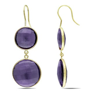 M by Miadora 22k Yellow Gold Plated Goldtone Synthetic Amethyst Hook Earrings