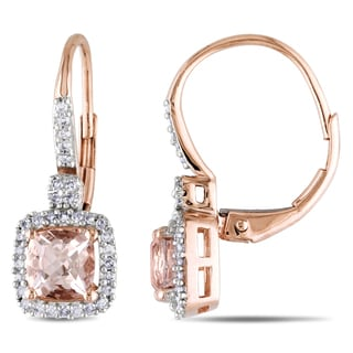 Miadora 10k Rose Gold Morganite and 1/5ct TDW Diamond Earrings (G-H, I1-I2)