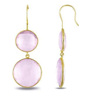 Miadora 22k Yellow Gold Plated Goldtone Synthetic Pink Quartz Earrings