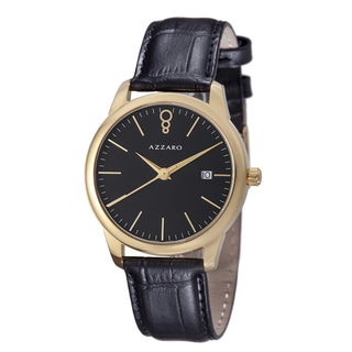 Azzaro Men's AZ2040.62BB.000 'Legend' Black Dial Black Leather Strap Goldtone Watch