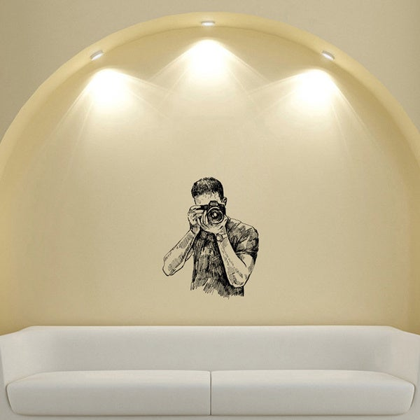 Photographer with Camera Photo Studio Design Vinyl Wall Art Decal