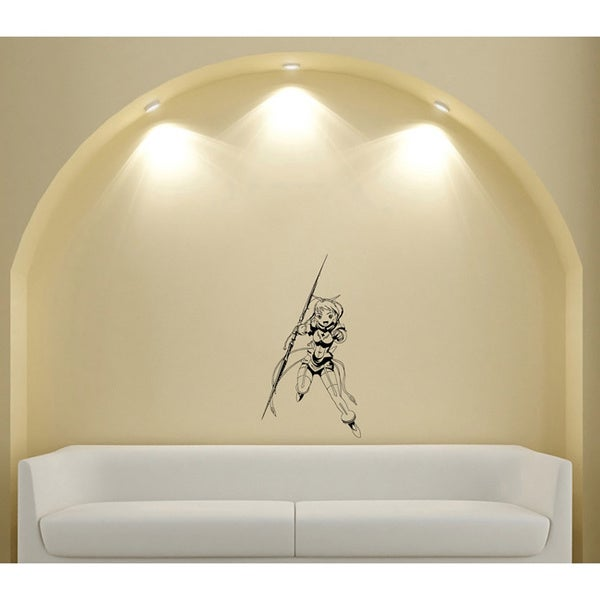 Japanese Manga Girl Witchcraft Stick Vinyl Wall Art Decal