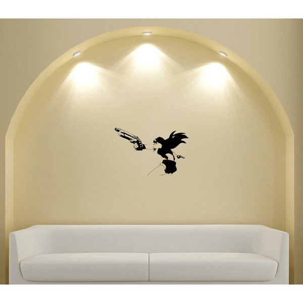 Japanese Manga Girl Shooting a Gun Vinyl Wall Art Decal