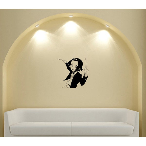Japanese Manga Girl Music Drum Sticks Vinyl Wall Art Decal