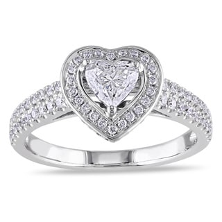 Miadora Signature Collection 14k White Gold 1ct TDW Diamond Heart Engagement Ring (G-H, I1-I2)
