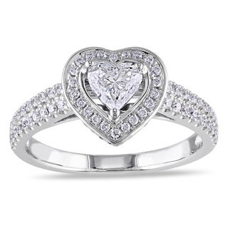 Miadora 14k White Gold 1ct TDW Diamond Heart Engagement Ring (G-H, I1-I2)