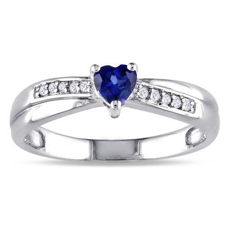 Miadora Sterling Silver Created Sapphire and Diamond Accent Heart Ring with Bonus Earrings