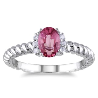 Miadora 10k White Gold Pink Tourmaline and Diamond Accent Ring
