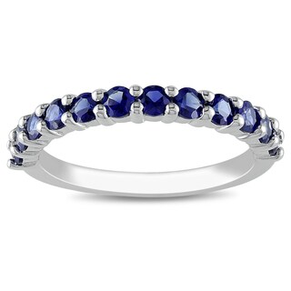 Miadora Sterling Silver Created Blue Sapphire Ring