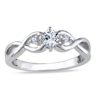 Miadora Sterling Silver Created White Sapphire and Diamond Engagement Ring