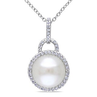 Miadora Sterling Silver White Topaz and Freshwater Pearl Necklace (11-12 mm)