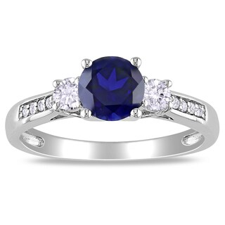 Miadora 10k White Gold Created Sapphire and Diamond 3-stone Ring