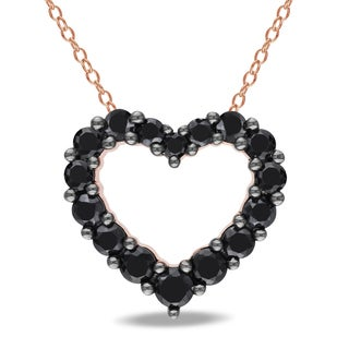 M by Miadora Rose Plated Silver Black Spinel Heart Necklace