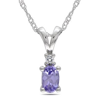 Miadora 10k White Gold Diamond and Tanzanite Necklace