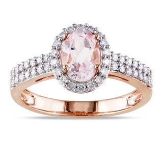 Miadora 10k Rose Gold Morganite and 1/3ct TDW Diamond Ring (G-H, I1-I2)