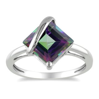 Miadora 10k White Gold Exotic Green Topaz Ring