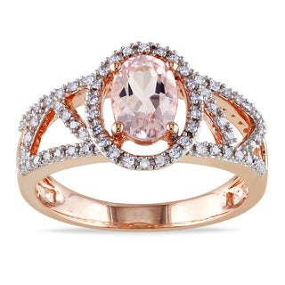 Miaodra 10k Rose Gold Morganite and 1/5ct TDW Diamond Ring (G-H, I1-I2)