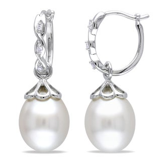 Miadora 14k White Gold South Sea White Pearl and Diamond Drop Earrings