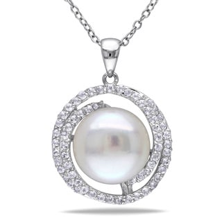 Miadora Sterling Silver White Topaz and Pearl Necklace (11-12 mm)