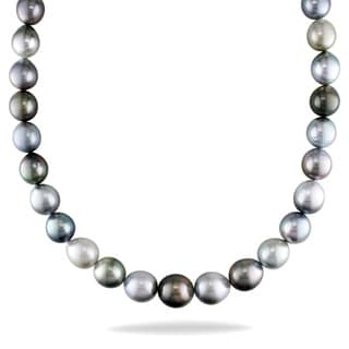 Miadora 14k White Gold Tahitian Pearl and Diamond Necklace (11-14.5 mm)