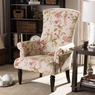 Floral Accent Chairs.Baxton Studio Kimmett Beige Pink Linen Floral Accent Chair Buy