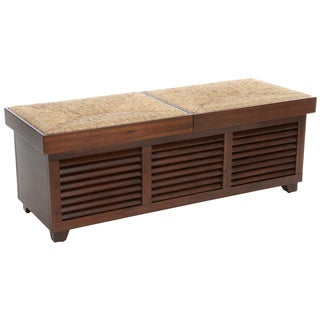 Christopher Knight Home Roderick Weave Top Mahogany Storage Ottoman Coffee Table