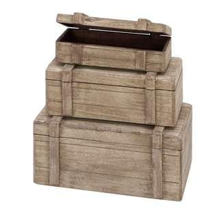 Wood Boxes Nautical Maritime Decor (Set of 3)