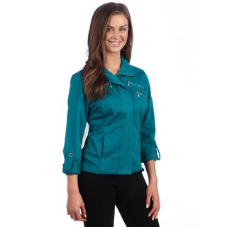Live a Little Women's Roll Sleeve Gathered Collar Jacket