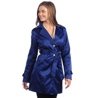 Live a Little Women's Single-Breasted Cobalt-Blue Trench