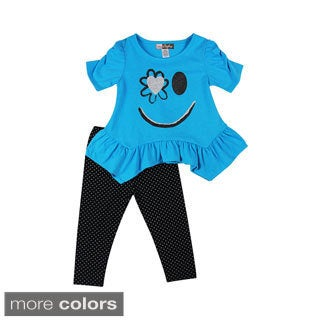 Girls Toddlers Smiley Flower Two Piece Set