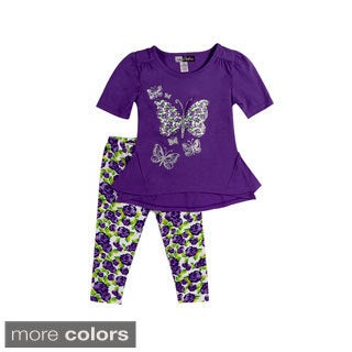 Girls Toddler Flowers and Butterflies Two Piece Set